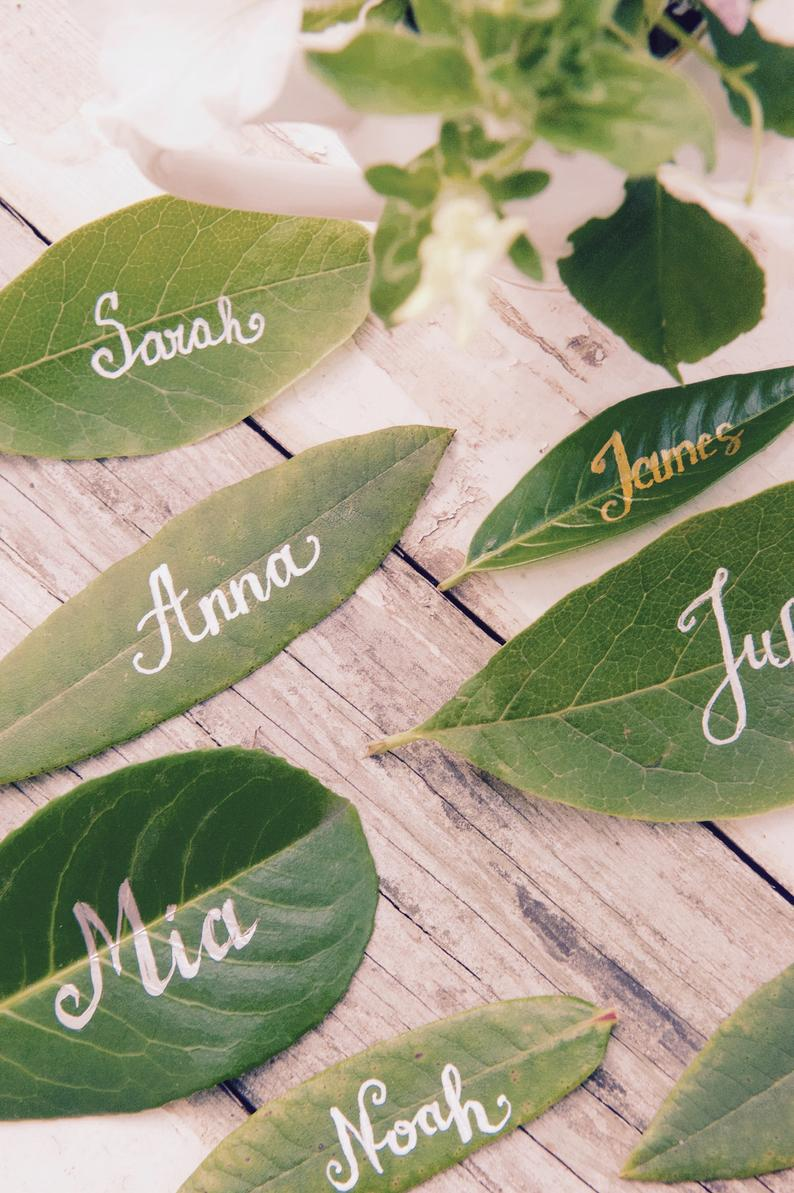 Sustainable Wedding Leaf Name Cards For Table
