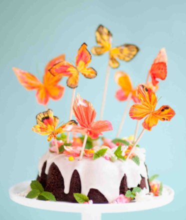 Orange Butterflies Wedding Cake Topper