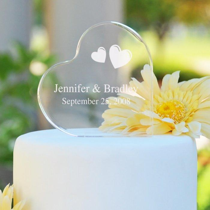 Glass Wedding Cake Topper