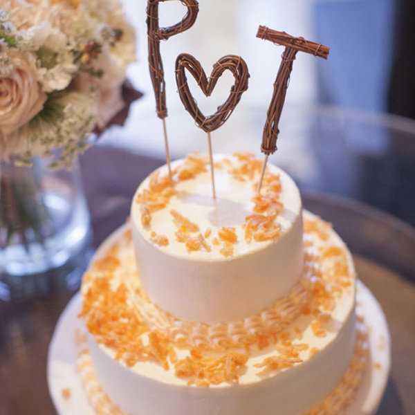 Wooden Initials Wedding Cake Topper