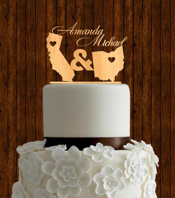 15 meaningful wedding cake toppers for your wedding two states wedding cake topper junglespirit