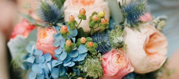 Wedding Flowers - Beautiful Blue And Pink Bouquet