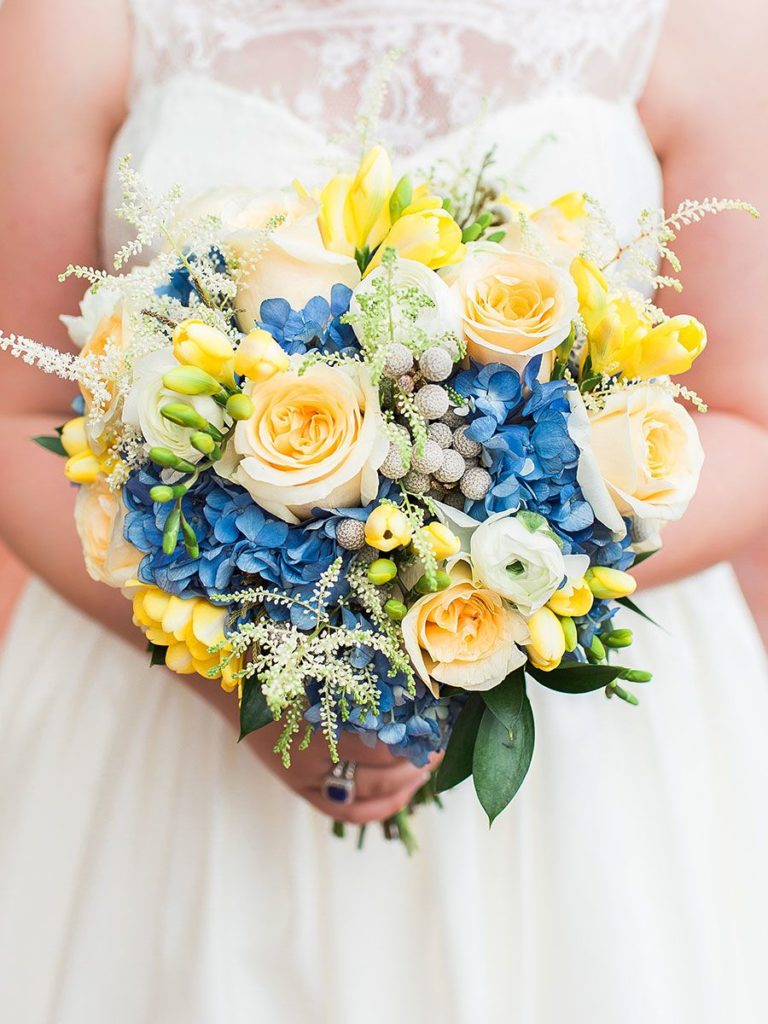 blue and yellow bouquet for spring wedding color palette