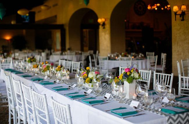 green tableware for spring wedding color palette