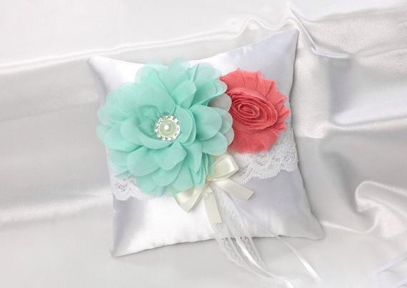 mint and coral ring bearer pillow for spring wedding color palette