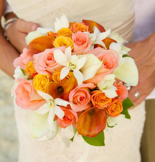 pink white orange bouquet for spring wedding color palette