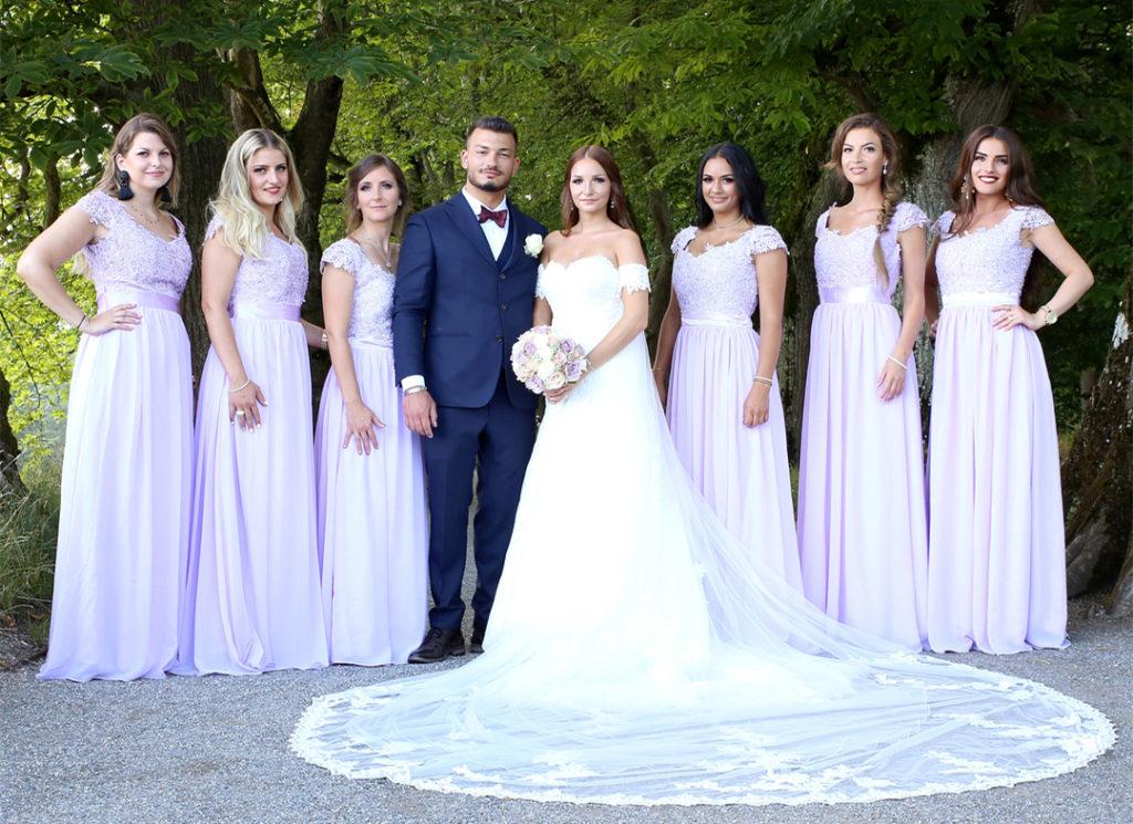 purple bridesmaid dresses for spring wedding color palette