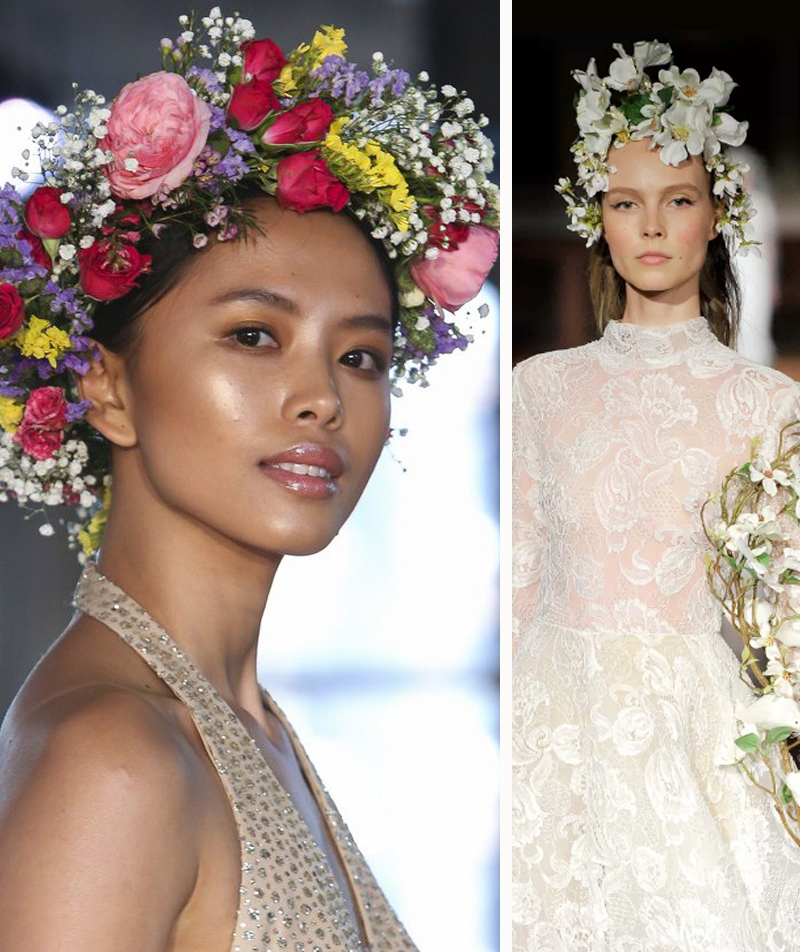 2019 Bridal Hair Trends - Hair Bouquets Reem Acra Runway